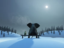 Elephant and dog at Christmas night Stock Photography