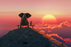 Elephant and dog sit on a mountain top Stock Image