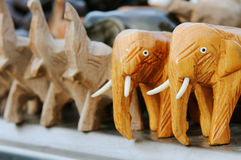 Elephant Doll. Carved wooden dolls from Thailand Stock Photography