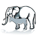 Elephant and donkey Stock Photography