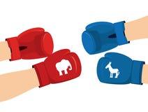 Elephant and Donkey boxing gloves. Symbols of USA political part Royalty Free Stock Image
