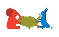 Elephant and Donkey divided map of America. USA political party. Royalty Free Stock Photo