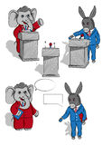Elephant and donkey. This is a Political set of images featuring a Donkey and an Elephant. Black outline and colors of every object are layered separately stock illustration