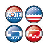 Elephant and donkey of vote inside buttons concept Royalty Free Stock Image