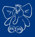 Elephant drawing. A drawing of an elephant on blue Stock Photo