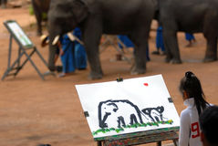 Elephant drawing.[2]. Travelers are interested in paintings of elephants.The auction can be brought back home.Elephant owners[ Mahout] to practicing drawing royalty free stock photo