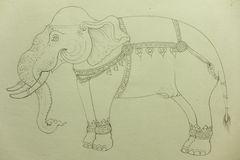 Elephant Drawing Royalty Free Stock Photo