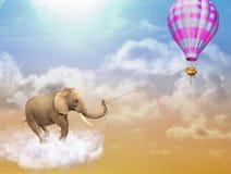 Elephant draws an air balloon. 3D illustration royalty free illustration