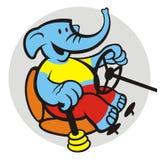 Elephant driver. Cartoon elephant as car driver Royalty Free Stock Image