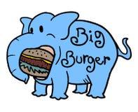 Elephant eating big burger Royalty Free Stock Images