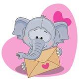Elephant with envelope Stock Photography
