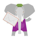 Elephant with an envelope Royalty Free Stock Photos