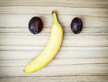 Elephant face of plums and banana Stock Image