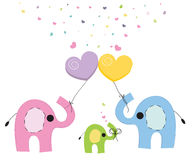 Elephant family baby greeting card vector Royalty Free Stock Photos