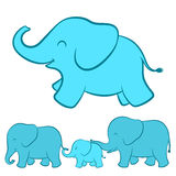 Elephant family cartoon. Adorable cartoon illustration of a happy playful baby blue ellie with a complete view of the whole elephant family walking in a line Royalty Free Stock Photos