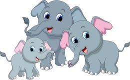Elephant family cartoon vector illustration