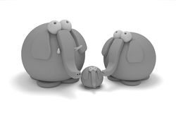 Elephant family in clay Stock Photography