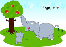 Elephant family and sky Royalty Free Stock Images