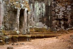 Elephant fence. The heads of elephant carving in a acient gate of angkor Stock Photography