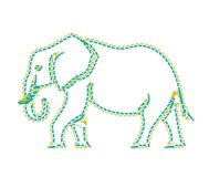 Elephant on the white background walking. Elephant figure designed as a line-art icon using special AI brush. This icon for nature, wildlife, travel, science Royalty Free Stock Images