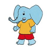 Elephant figure in T-shirt. Illustration of an elephant in a simple graphic design Stock Photos