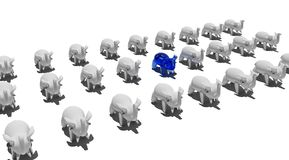 Elephant figures. A background of rows of elephants Stock Photos