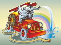 Elephant firefighter. Elephant in the helmet firefighter driving a fire truck pours water trunk hose hose hose puddle rainbow Stock Photo