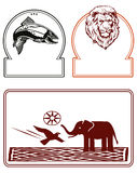 Elephant fish and lion labels. Illustration set of animal labels with lion, elephant bird and fish; isolated on white background with copy space Stock Images