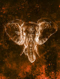 Elephant with floral ornament, pencil drawing on paper. Color effect and Computer collage. Royalty Free Stock Images