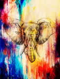 Elephant with floral ornament, pencil drawing on paper. Color effect and Computer collage. Royalty Free Stock Photography