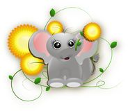 Elephant with floral ornaments Royalty Free Stock Photo