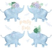 Elephant and flowers for design ready card clip art digital animal of africa cute drawing character funny kid summer style on whit. Elephant clip art digital stock illustration