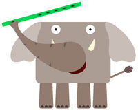 Elephant flutes. Illustration of an elephant playing a flute Stock Photo