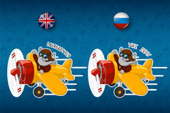Elephant is flying on an airplane. Big set of stickers in English and Russian languages. Vector, cartoon Royalty Free Stock Photo