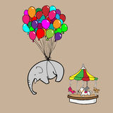 Elephant flying by balloons cartoon Royalty Free Stock Photos