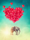 Elephant flying with balloons Royalty Free Stock Photo