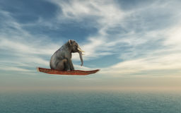 Elephant. Flying on a carpet over the ocean. This is a 3d render illustration royalty free illustration