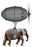 Elephant Flying Machine Isolated Royalty Free Stock Image