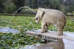 Elephant, Foliage and Fountains Stock Photo