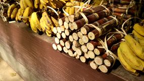 Elephant food, bananas and sugar canes. Bananas and sugar canes fruits Royalty Free Stock Photography