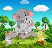 Elephant in the forest. Illustration of Elephant in the forest Royalty Free Stock Photo