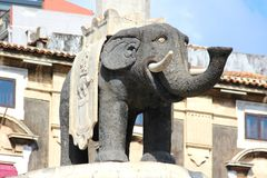 Elephant Fountain in Catania, Sicily, Italy. Elephant Fountain Fontana dell`Elefante, the symbol of Catania built of lava stone, Piazza Duomo, Sicily, Italy royalty free stock photos