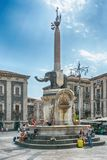 Elephant fountain in Catania, Sicily, Italy. Stock Images