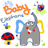 Elephant and friends. Elephant with little friends in the forest vector cartoon Royalty Free Stock Photography