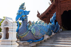 Elephant fusion Swan staircase in Wat Banden Royalty Free Stock Photo