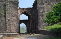 Historic Elephant Gate of Mandav Fort Stock Photos