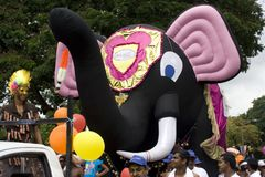 Elephant (giant toy) on street of carvival. Royalty Free Stock Photos