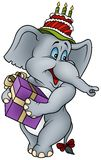 Elephant and Gift. Happy Birthday - detailed colored illustration as Royalty Free Stock Photography