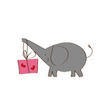 Elephant and gift Stock Image