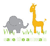Elephant and giraffe Royalty Free Stock Photography